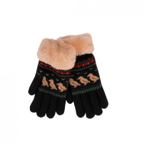Ladies gloves with puffins