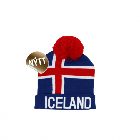 Hat with Icelandic flag and pom pom