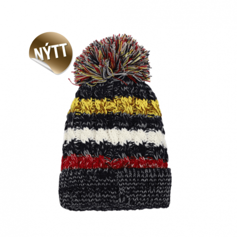 Hat with multi color pompom