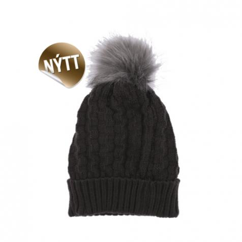 Hat with faux fur pompom