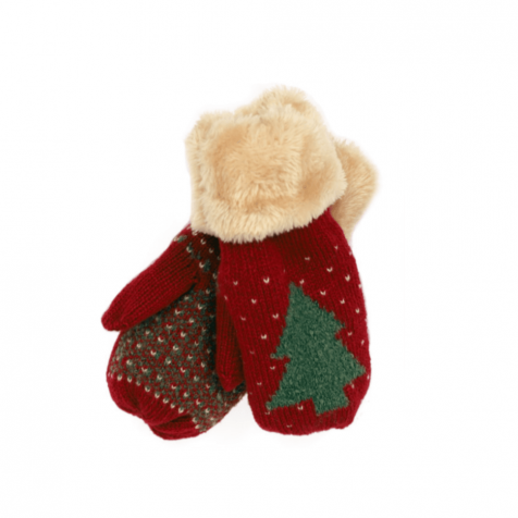 Children's mittens with Christmas tree