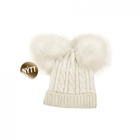 Knitted children's hat with pompom
