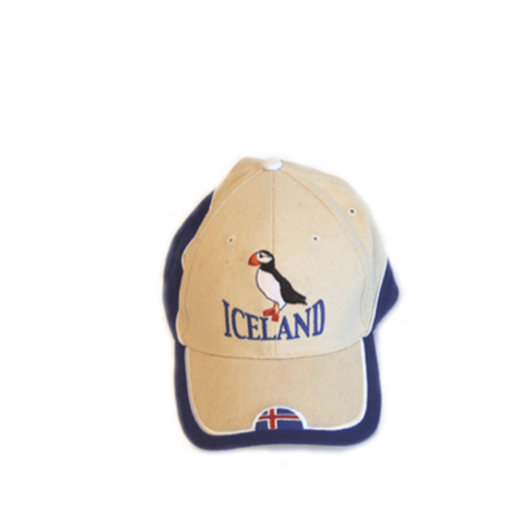 Cap with puffin/coat of arms