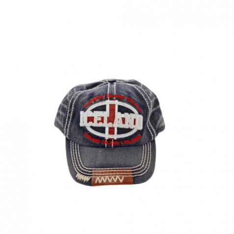 Denim cap with Iceland