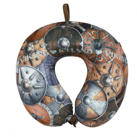 Travel pillow with Viking shields