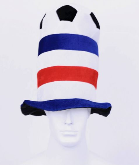 Large red and blue hat with football