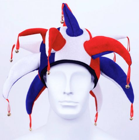 Hat with bells in red and blue