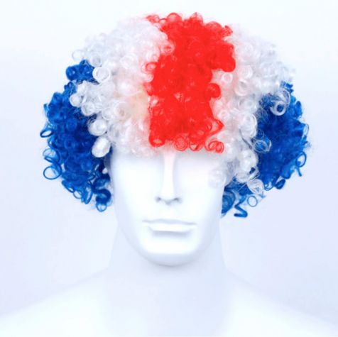Curly wig with Icelandic flag colors
