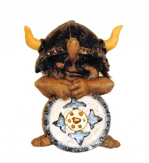 Troll with horned helmet and shield