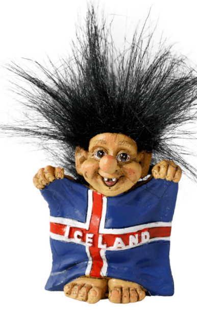 Troll holding the Icelandic flag