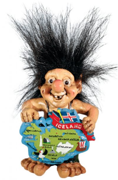 Troll with map of Iceland