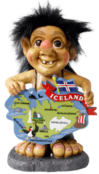 Big troll with map of Iceland